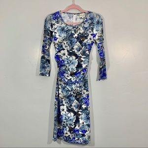 Reiss | Blue Gray Floral Pattern Bodycon Dress